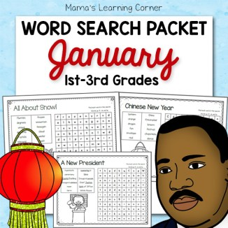 January Word Search Packet