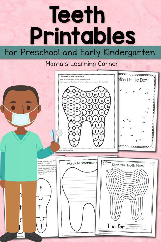 Tooth Kindergarten Activity Fun Worksheets