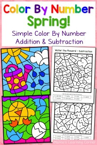 Spring Color By Number Worksheets with Simple Numbers plus Addition and Subtraction