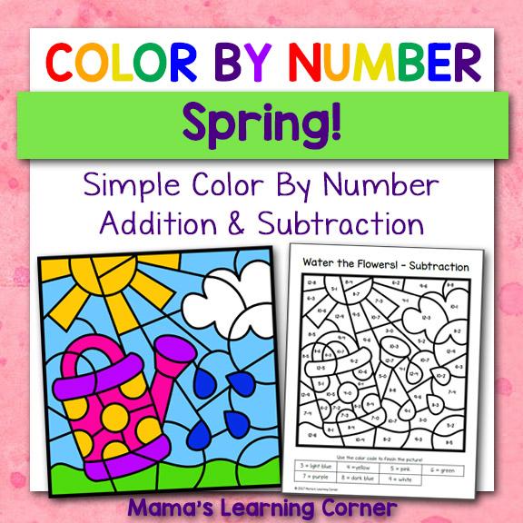 Spring Color By Number Worksheets