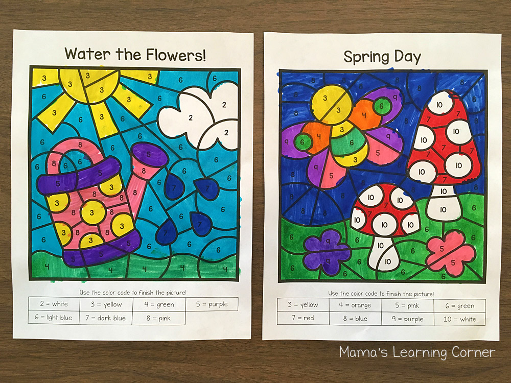 Spring Color By Number Worksheets
