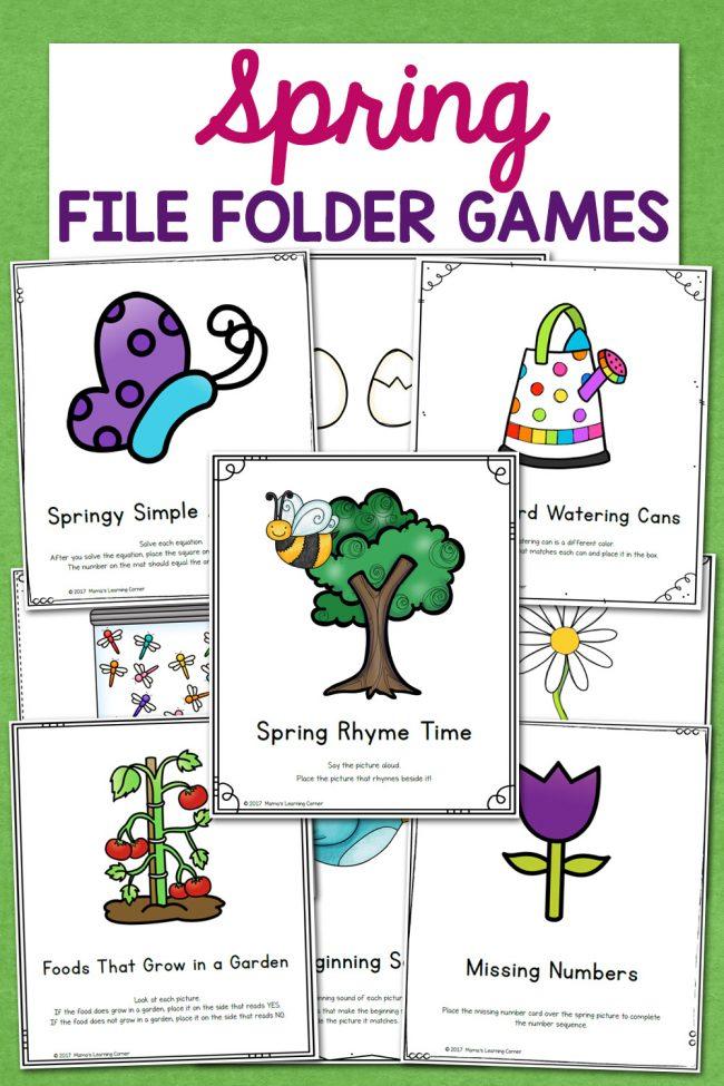 Spring File Folder Games for Preschool and Kindergarten