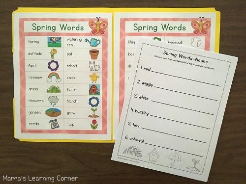 Spring File Folder Word Wall