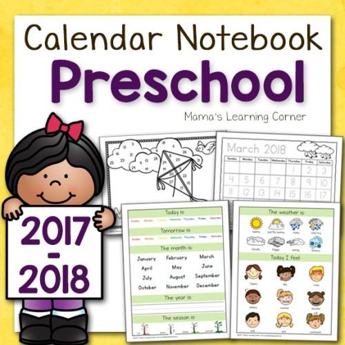 Preschool Calendar Notebook 2017 2018