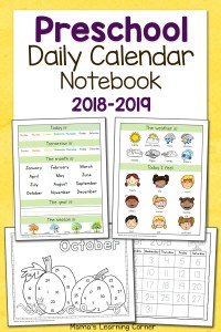 Preschool Calendar Notebook