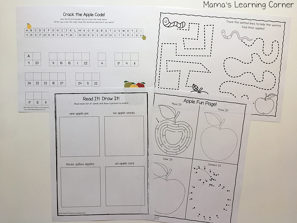 Apple Worksheets for Kindergarten and First Grade