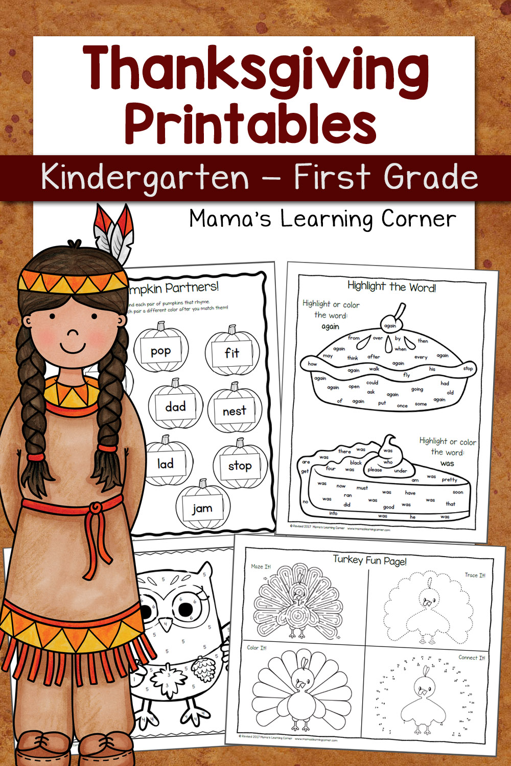 photograph about Thanksgiving Puzzles Printable called Thanksgiving Worksheet Packet for Kindergarten and Initially