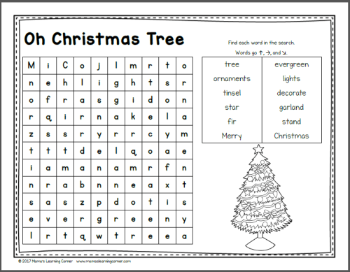 December Word Search Packet