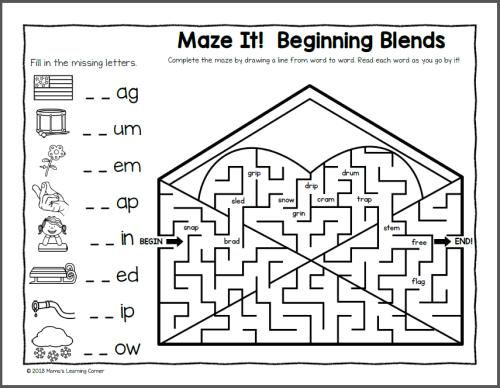 Phonics Mazes for Valentine's Day
