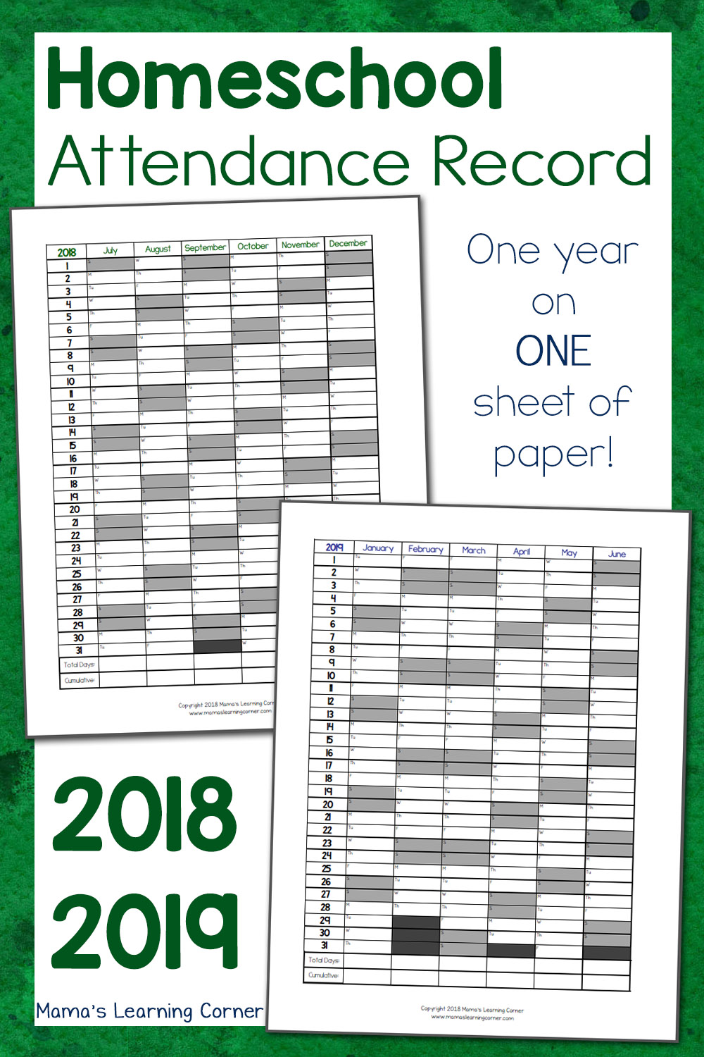photo relating to Free Printable Homeschool Record Keeping Forms identified as Very simple Homeschool Attendance Background 2018-2019 - Mamas