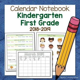 Kindergarten Calendar Notebook 2018 2019