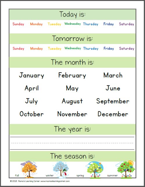 Preschool Calendar Notebook 2018 2019