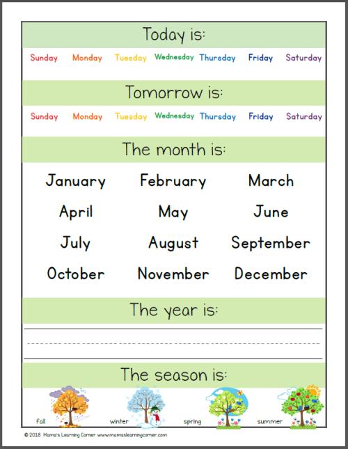 Preschool Calendar Notebook 2018 2019