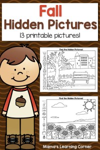 Fall Hidden Picture Worksheets