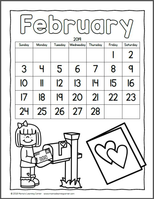 Color Your Own Calendar February