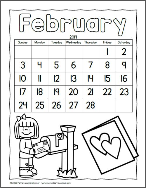 Color Your Own Calendar February