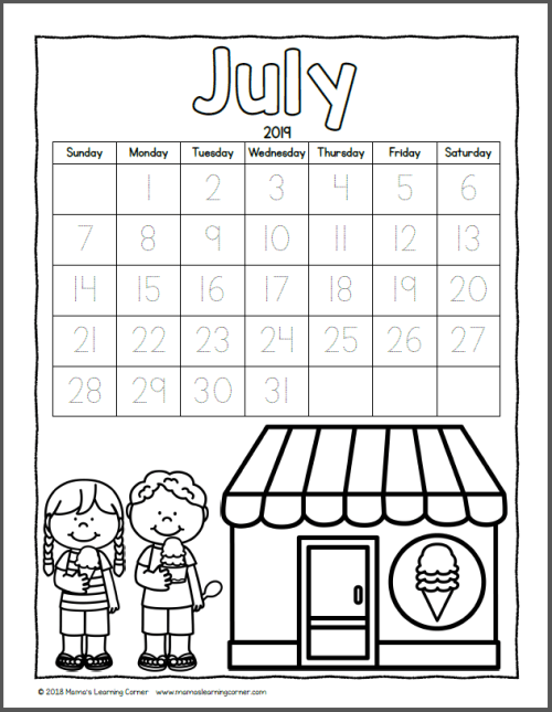 Color Your Own Calendar July