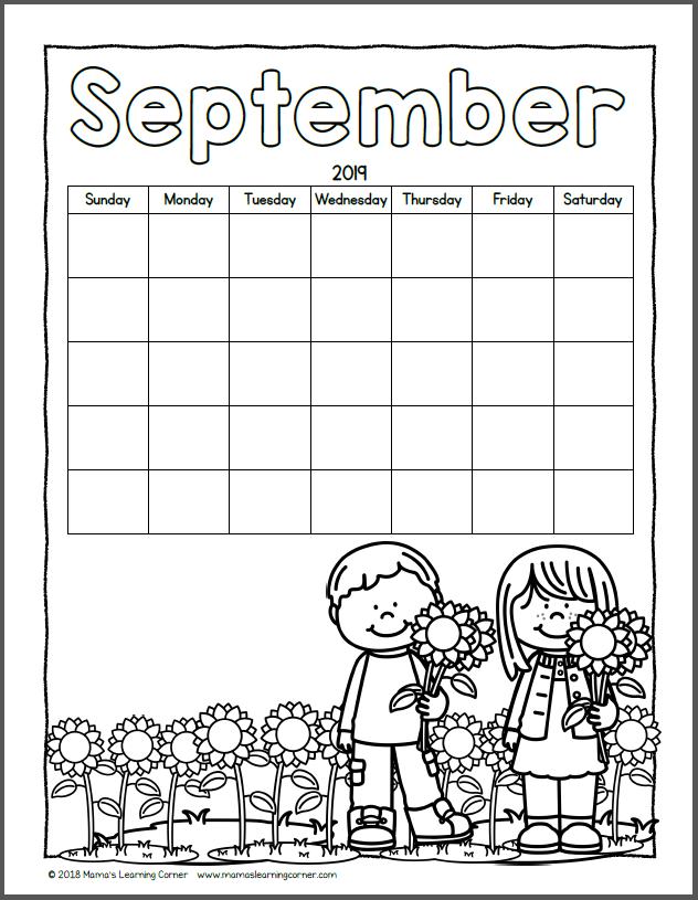 Color Your Own Calendar September