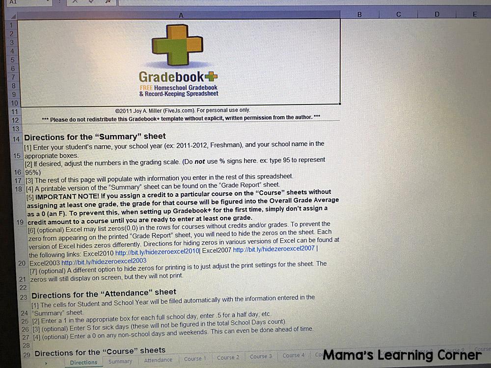 Grades in Homeschool Gradebook