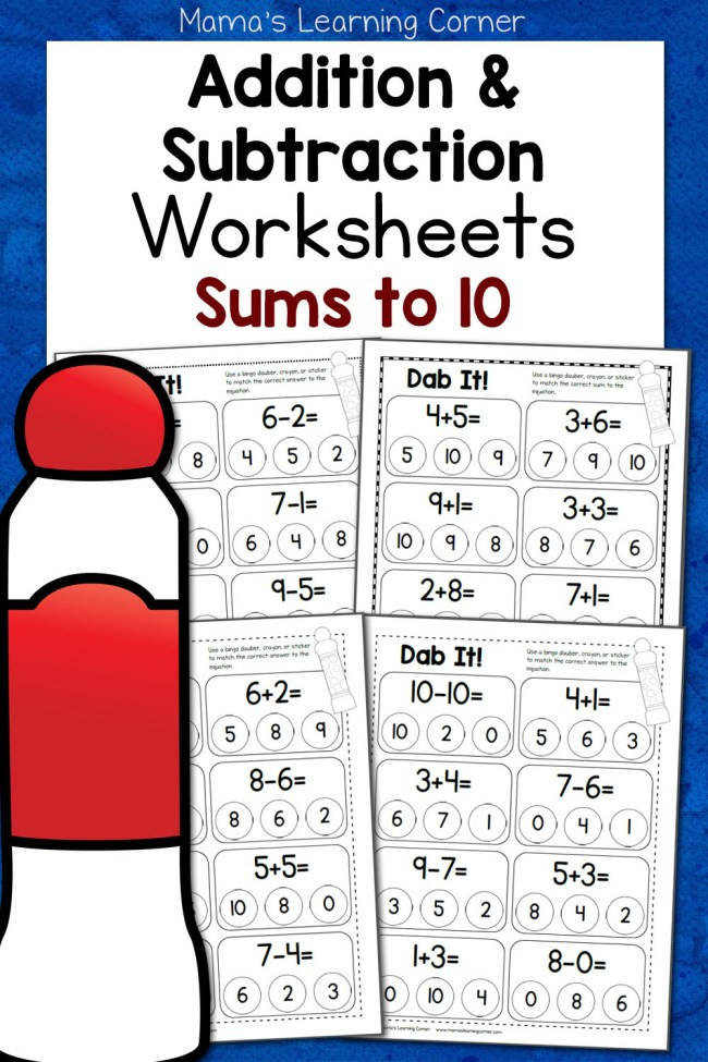 Dab It! Addition and Subtraction Mixed Worksheets