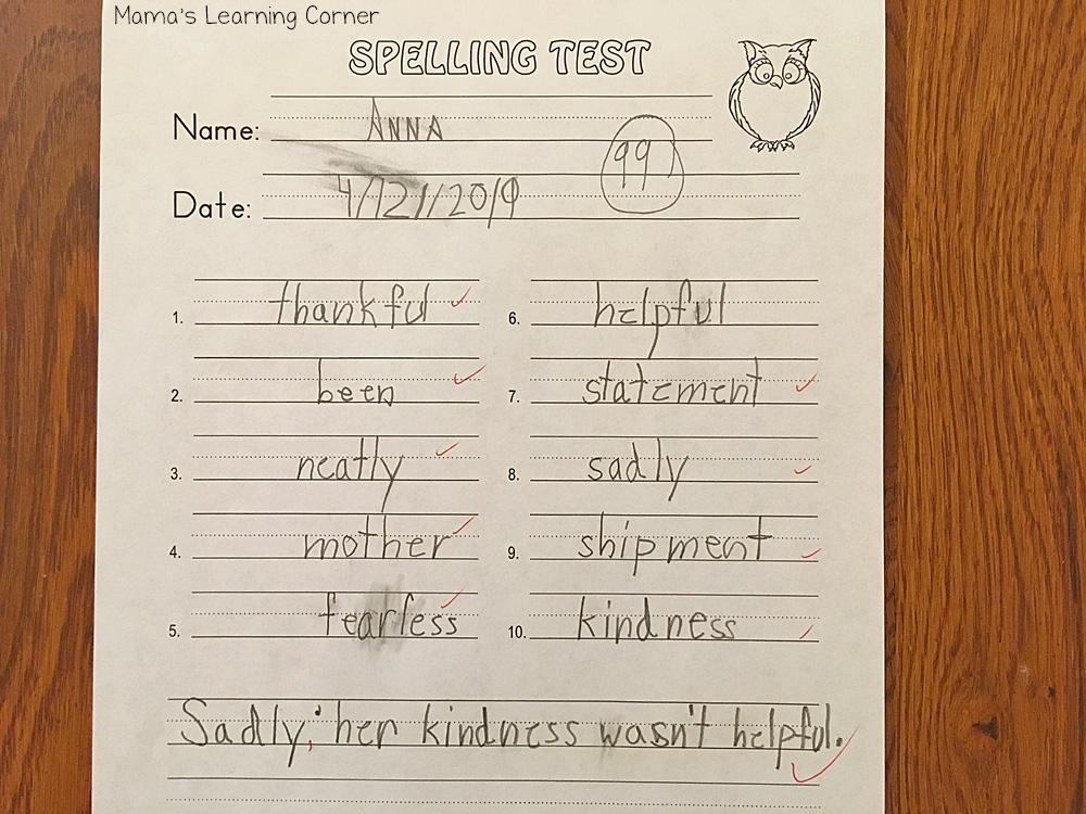 Traditional Spelling I Spelling Test