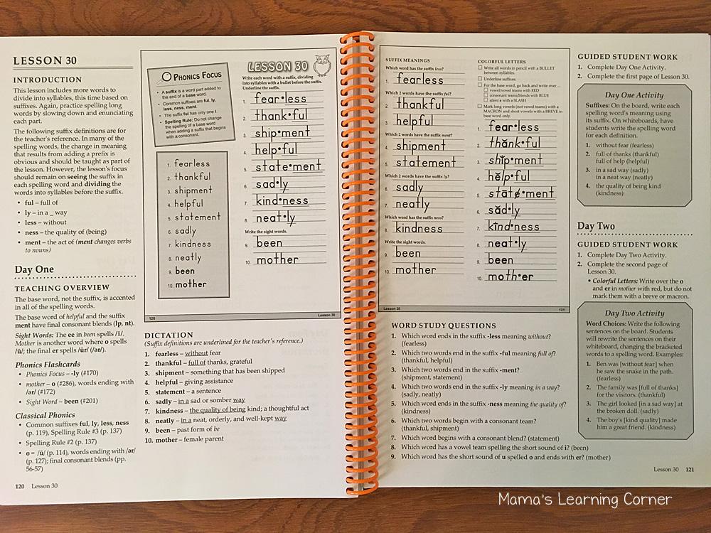 Traditional Spelling I Teacher's Guide Lesson 30