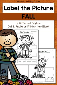 Label the Picture Worksheets for Fall