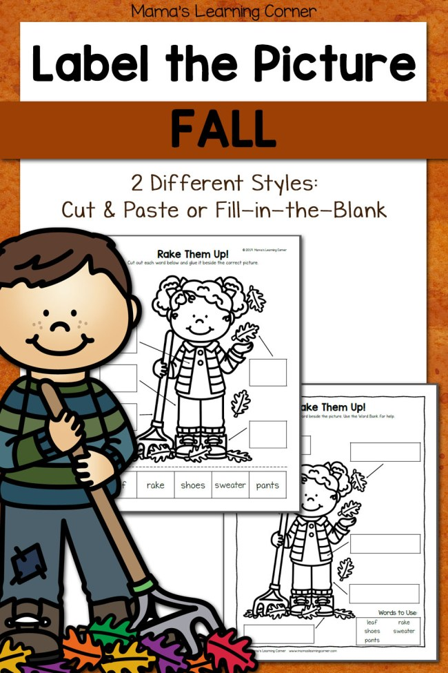 Fall Label the Picture Worksheets