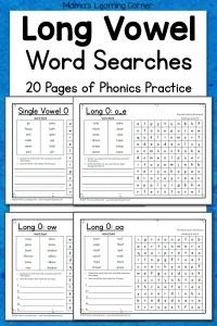 Long Vowel Word Search Puzzles