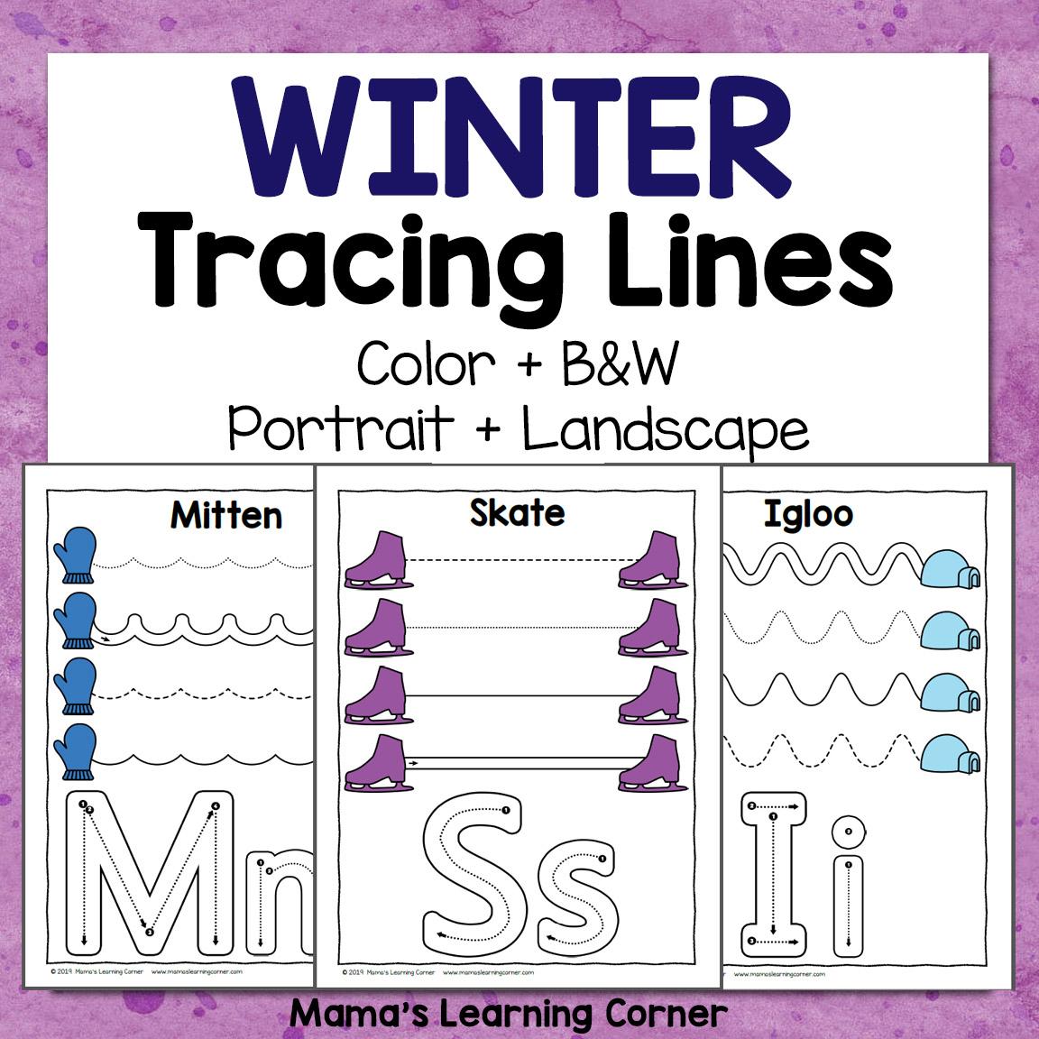 Winter Tracing Worksheets For Preschool