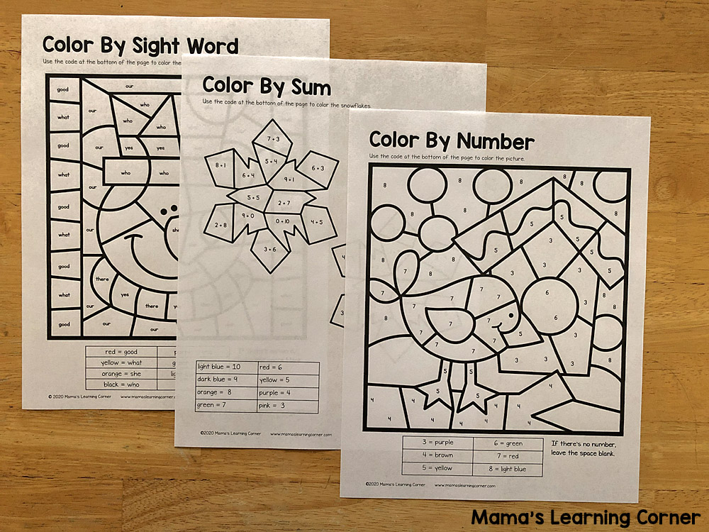 Winter Worksheets for K and 1st Color By Numbers