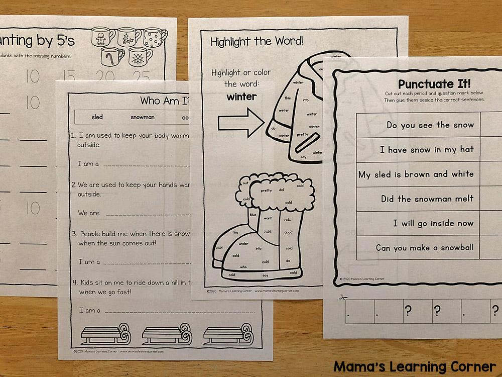Winter Worksheets for K and 1st Counting by 5