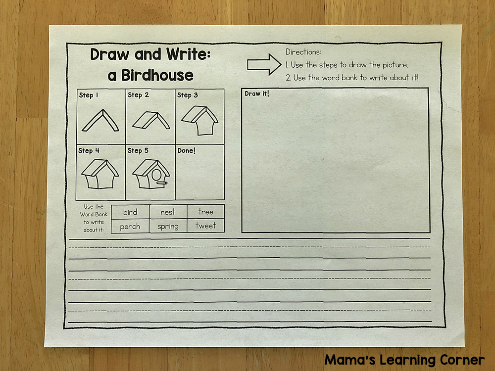 Spring Draw and Write Elementary Lines