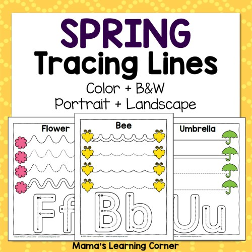 Spring Tracing Worksheets for Preschool