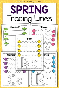 Spring Tracing Worksheets for Preschool