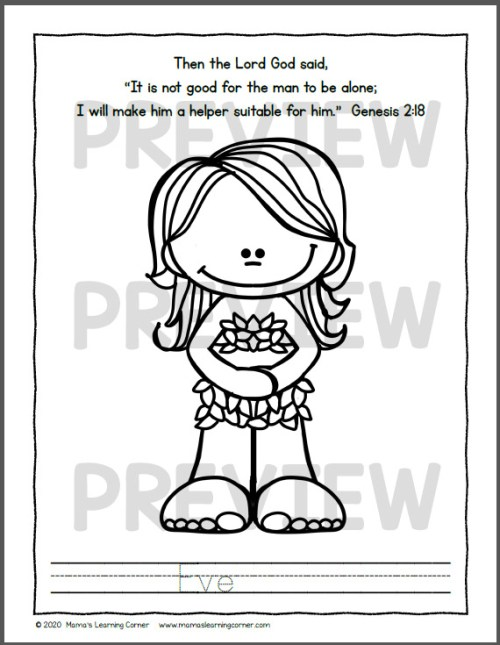 Adam and Eve in the Garden Coloring Pages
