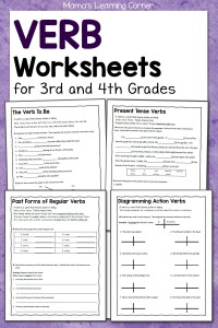 Verb Worksheets for 3rd and 4th Grades