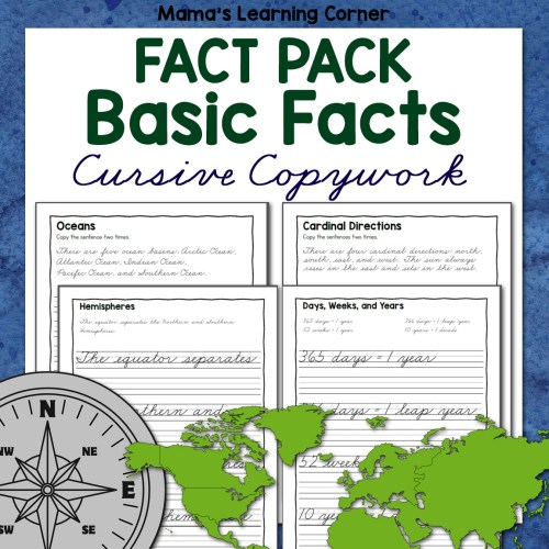 Basics Fact Pack Cursive Copywork