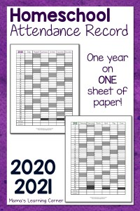 Homeschool Attendance Record 2020-2021