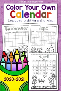 Color Your Own Calendar 2020-2021