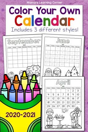 Color Your Own Calendar 2020 2021