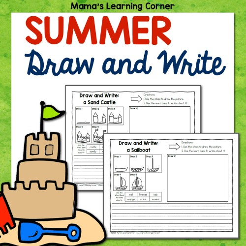 Summer Directed Draw and Write Worksheets 8x8