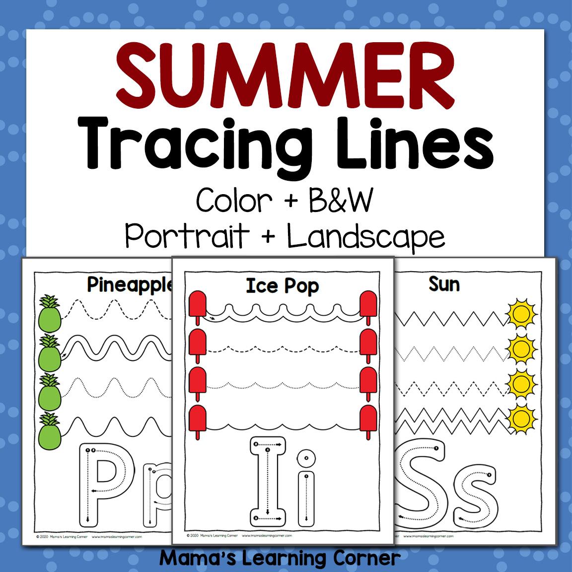 Summer Tracing Worksheets For Preschool