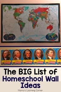 Big List of Homeschool Wall Ideas