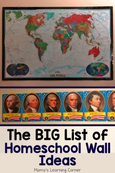Big List of Homeschool Wall Ideas
