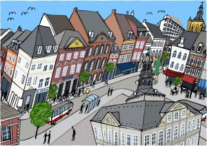 Arteaux_Maastricht_Roel_Meertens_schilderij_cartoon_tekening_kleur_kinder_markt_klein