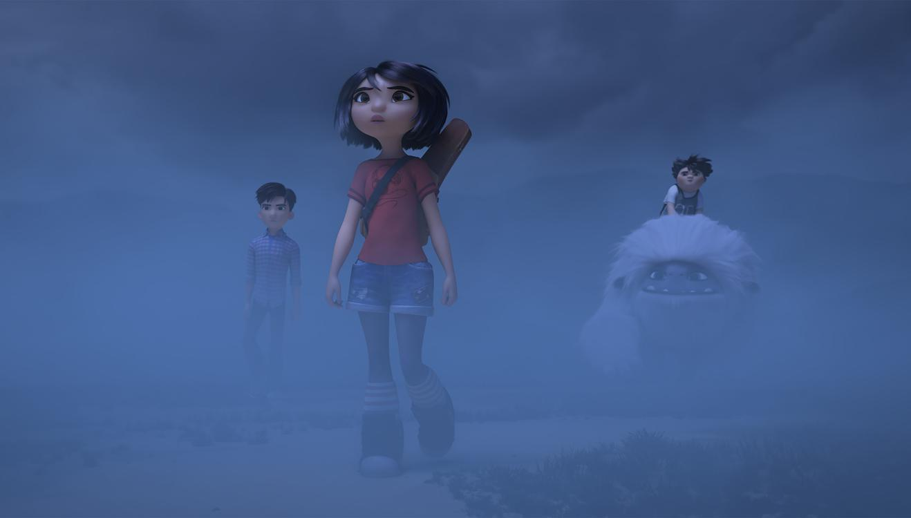 (from left) – Jin (Tenzing Norgay Trainor), Yi (Chloe Bennet) and Peng (Albert Tsai) with the Yeti, Everest, in DreamWorks Animation and Pearl Studio's Abominable, written and directed by Jill Culton.