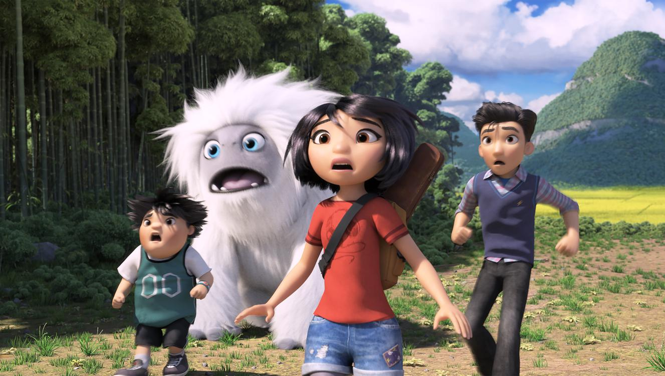 (from left) – Peng (Albert Tsai), Everest the Yeti, Yi (Chloe Bennet) and Jin (Tenzing Norgay Trainor) in DreamWorks Animation and Pearl Studio's Abominable, written and directed by Jill Culton.