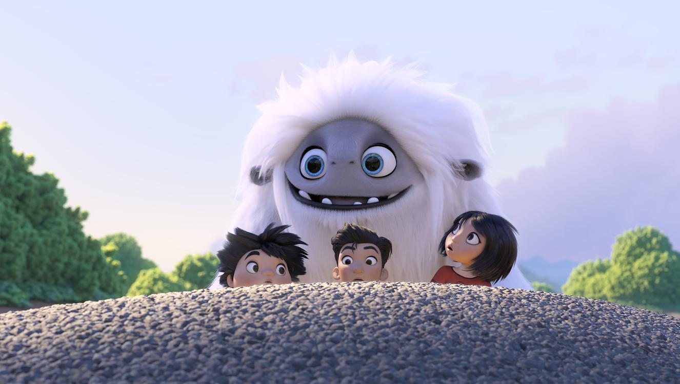 (from left) – Peng (Albert Tsai), Jin (Tenzing Norgay Trainor) and Yi (Chloe Bennet) with the Yeti, Everest, in DreamWorks Animation and Pearl Studio's Abominable, written and directed by Jill Culton.