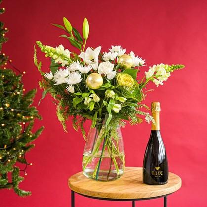 Greetz kerstboeket met champagne